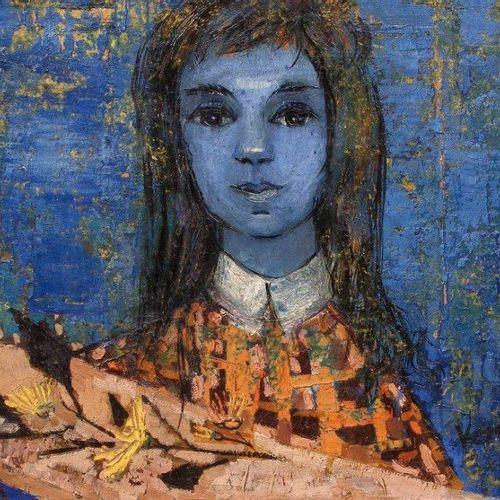 Gabrielle VERGEZ (XXe) «La petite fille bleue», 1954. Huile sur toile. Signé en …