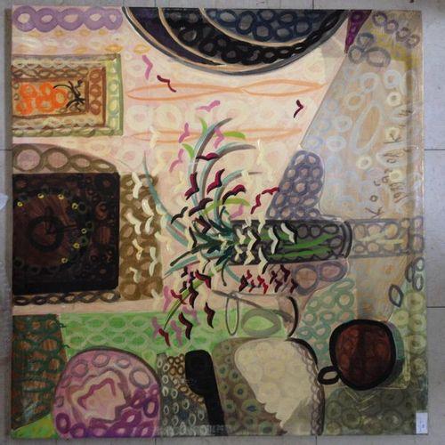 Yuri KOSSAGOVSKY (1941) Nature morte au vase de fleurs, 1989. Huile sur toile, s…