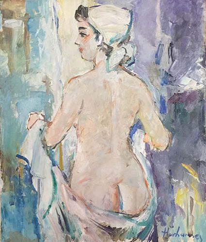 Hovhannès HAROUTIOUNIAN (1950) Nu de dos. Huile sur toile, signée en bas à droit…