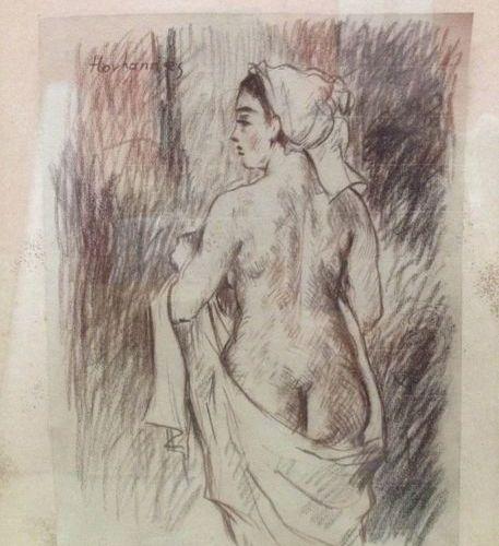 Hovhannès HAROUTIOUNIAN (1950) Nu drapé. Fusain, signé en haut à gauche. 30,6 x …
