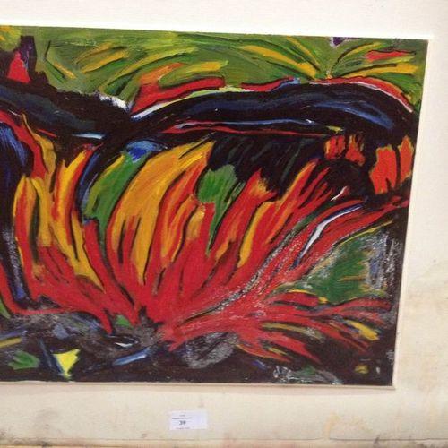 GLEF (1935) Buisson ardent, 1997. Huile sur papier, signée en bas à droite. 33 x…