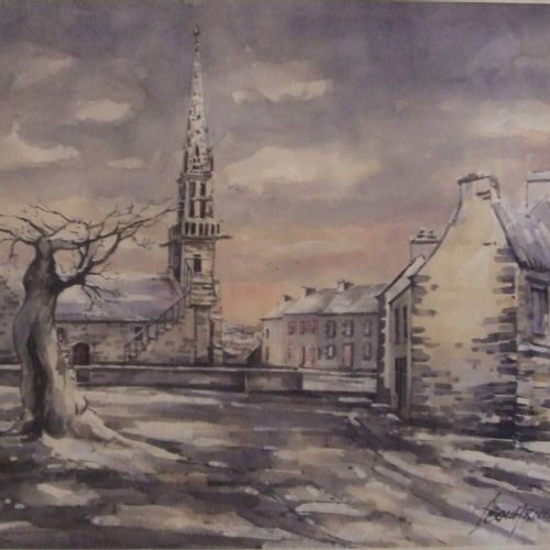 """Gérard SCOUARNEC """"Bourg de Saint Eloy (Monts d'Arrée) en hiver"""" Aquarelle. 44,5 …"""