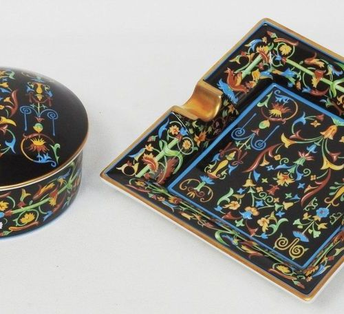 Limoges  Porcelain lot with black background and polychrome highlights comprisin…