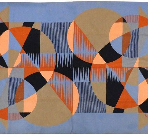Maurice ANDRE (1914 1985)  Wool carpet with geometric decoration on a blue backg…