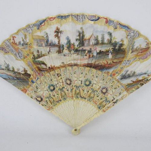 FOLDED FAN folded to twenty one strands, the sheet with gouache painted decorati…