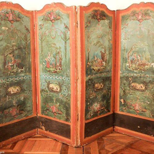 PARAVENT à quatre feuilles à décor peint sur toile de scènes galantes dans le go…