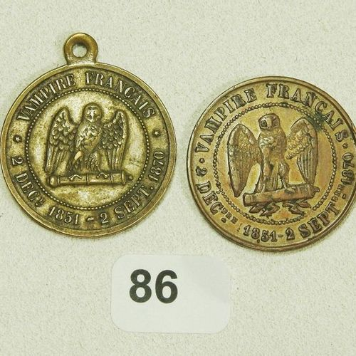 "Napoleon III ""THE MISERABLE"". Satirical medals including one with belly. Variety…"