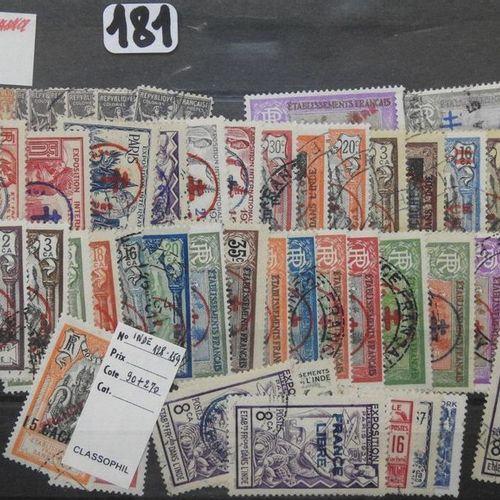 Etablissements Français en Inde  Plaquette de timbres poste oblitérés et neufs, …