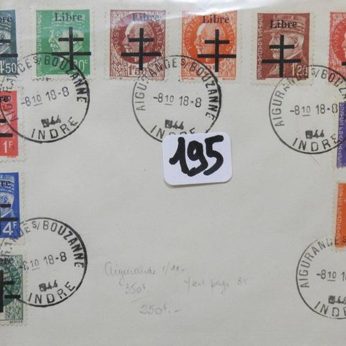France  Stamps of the Liberation, 11 postage stamps cancelled on overprinted cov…