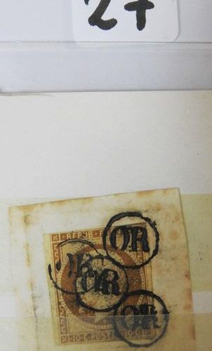 France  Postage stamp No. 9 cancelled GOLD, cancelled by the postman and put bac…