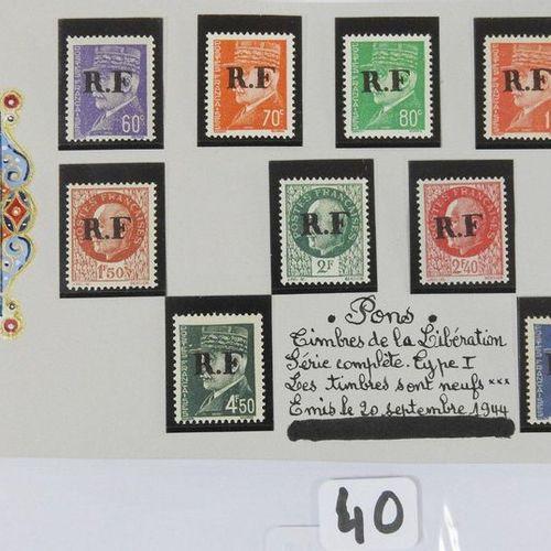 France New postage stamps Liberation including : Twelve postage stamps Pons typ…