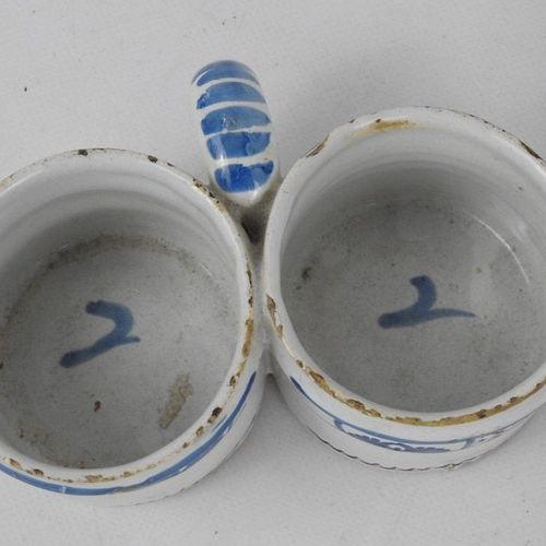 LOT INCLUDING: Earthenware oil and vinegar holder with four handles, decorated w…