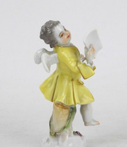 MEISSEN: Angelot and score. Porcelain subject. Mark on the reverse and number in…