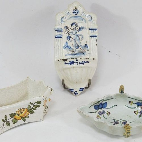 Polychrome earthenware lot including a stoup, a small rectangular planter and a …