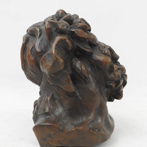 DEROBE (XIX XXème). Tête de Laocoon en bronze patiné. Signé. Numéroté 1/8. Marqu…
