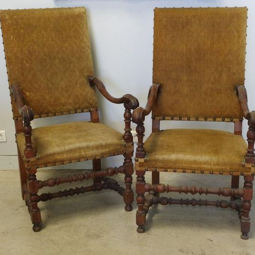 Pair of high back FALLS in moulded fruitwood, legs held by an H shaped spacer.  …