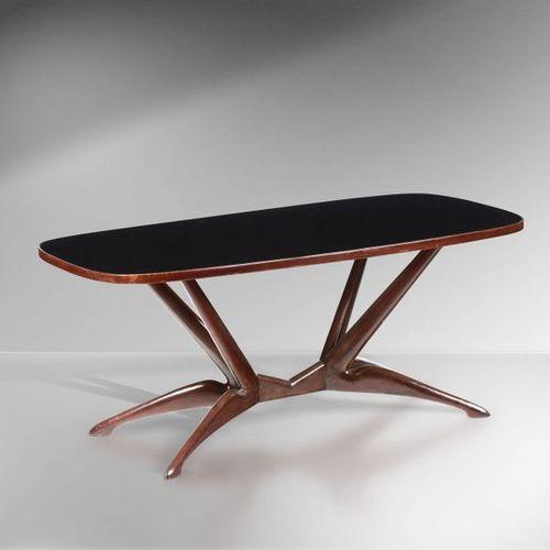 Tavolo con struttura in legno e piano in vetro colorato., Prod. Italia, 1950 ca.…