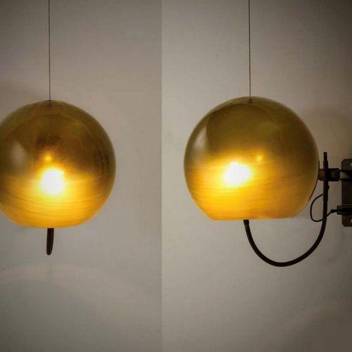 Ico Parisi, Coppia di lampade a parete mod. 244 con braccio orientabile in otton…