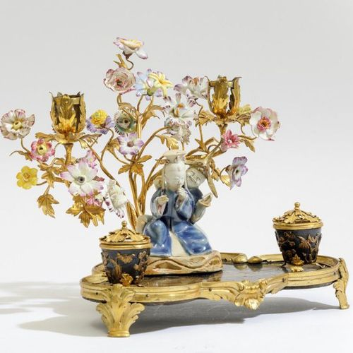 Calamaio, XVIII e XX secolo , Laque, bronze doré et porcelaine. Marques : absent…