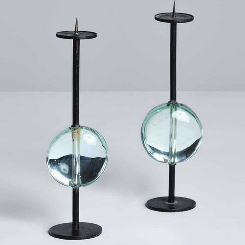 Max Ingrand, Two candleholders with metal structure and central element in bevel…