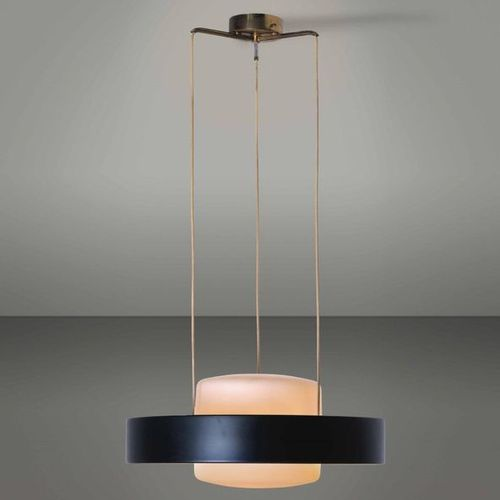 Stilnovo, A 1158 suspension lamp with lacquered aluminium and brass structure. D…