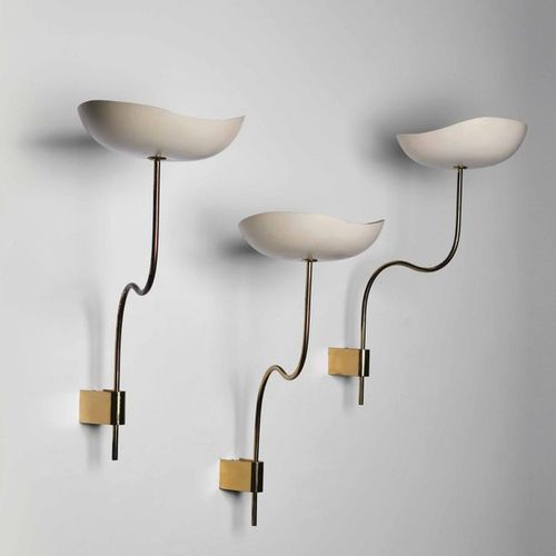 Stilnovo, Three wall lamps with brass structure and big shaped lacquered aluminu…