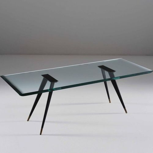 Max Ingrand, A rare 1817/1 low table in lacquered brass and brass feet. Thick be…