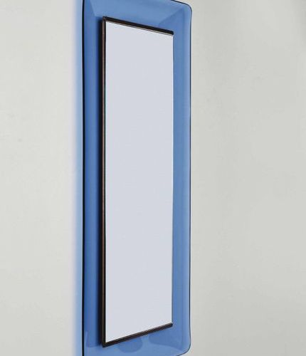Max Ingrand, A 2273 model mirror with wooden structure and colored bevelled crys…