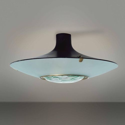 Max Ingrand, A large 1991 ceiling light with lacquered metal and brass structure…