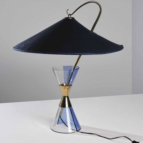 Max Ingrand, A rare table lamp with two colored curved crystal base and with bra…