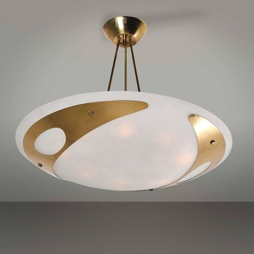 Max Ingrand, Rare suspension lamp with brass and lacquered metal structure. Diff…