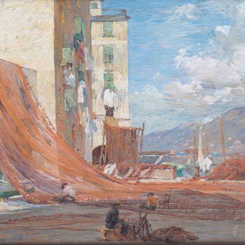 Romolo Pergola (1890 1960), Camogli pastel on paper, cm 50x65,5, signed at botto…