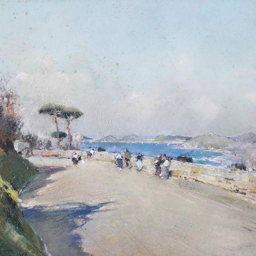 Giuseppe Casciaro (1863 1941), Costiera, 1908 pastel on cardboard, cm 23x33, sig…