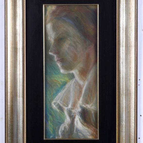 Elica Balla (1915 1995), Angelo Ritratto femminile di profilo pastel on cardboar…