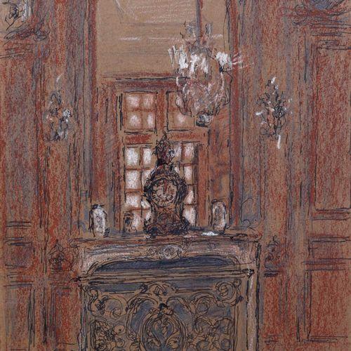 Mario Cavaglieri (1887 1969), Interno pen and pastel on paper cm. 33x24 signed a…