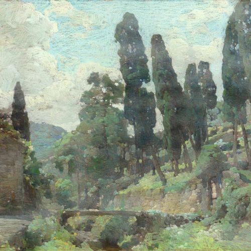 Romolo Pergola (1890 1960), Lungo la salita da Camogli a San Rocco pastels on ca…