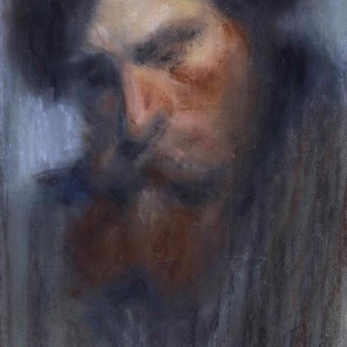 Ignoto artista del XX secolo, Ritratto maschile pastel on paper cm 45x26 signed …
