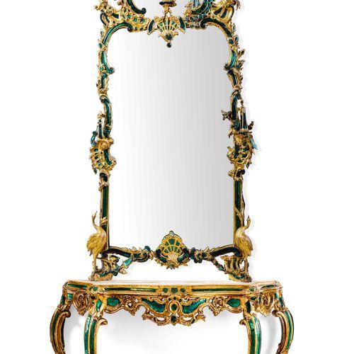 Rara ed importante specchiera in legno intagliato dorato ed inclusioni in crista…