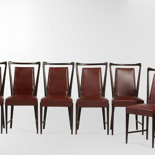 La permanente di Cantù, 六把椅子,木质框架和skai软垫。意大利制造,约1950年,cm 43x43x93