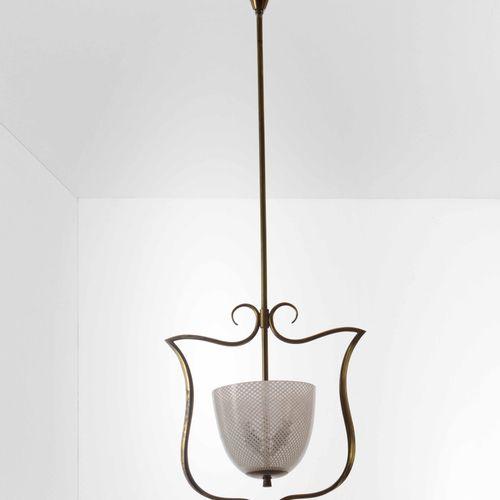Lampada a sospensione con struttura in ottone e diffusore in vetro di Murano ret…