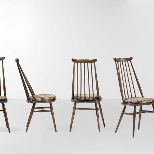 Luciano Ercolani, 四把椅子,木质框架和支架,布质坐垫。原始标签。英国制造,约1960年,cm 41x40x97
