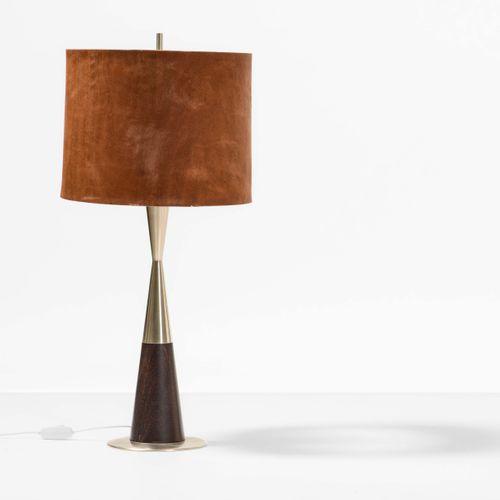 Stilnovo, Lampe de table avec structure en métal et bois, abat jour en tissu. Fa…