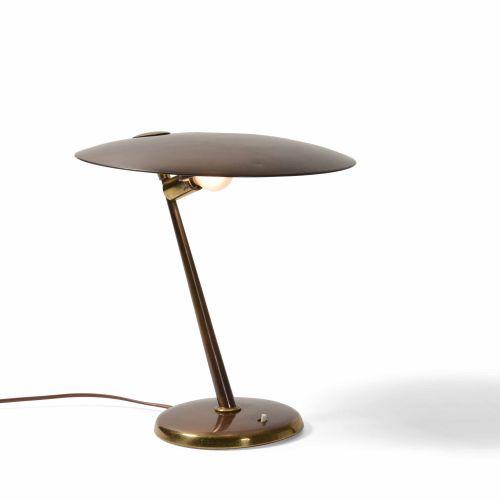 Lampada da tavolo con struttura e diffusore in ottone., Prod. Italia, 1960 ca. C…