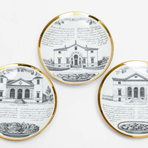 "Piero Fornasetti, 来自 ""Ricette Vicentine ""系列的三个釉面陶瓷盘。由意大利Fornasetti公司制造,约1970年。直径…"