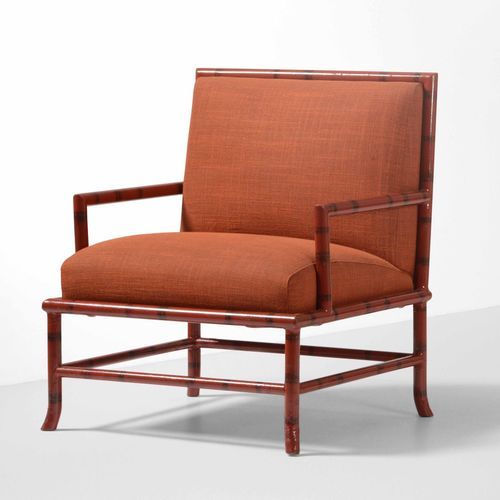 "Piero Fornasetti, 扶手椅,漆面木质框架和织物软垫。仿竹 ""装饰。意大利Fornasetti公司制造,约1960年,cm 70x65x80"