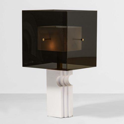 Lampada da tavolo con base in laminato plastico e diffusore in perspex, particol…