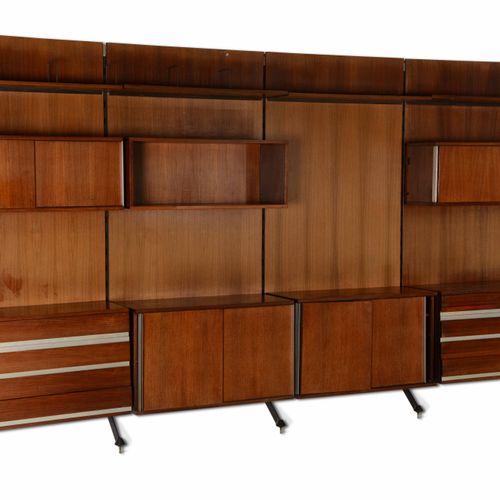 MIM, Libreria a parete modulare con struttura in metallo e legno. Marchio origin…
