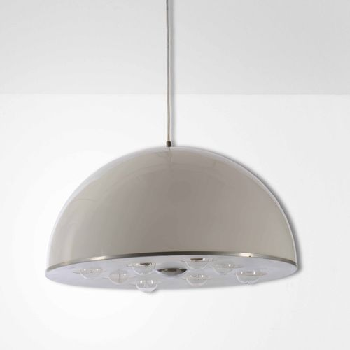 Lampada a sospensione con diffusore in metallo cromato e perspex., Prod. Italia,…