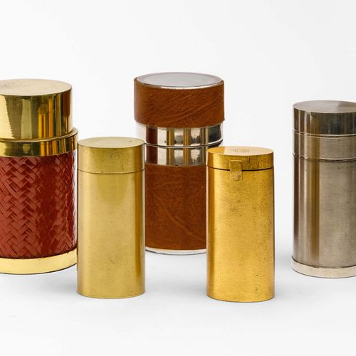 Gabriella Crespi, Set di cinque scatole in diversi materiali. Strutture in otton…