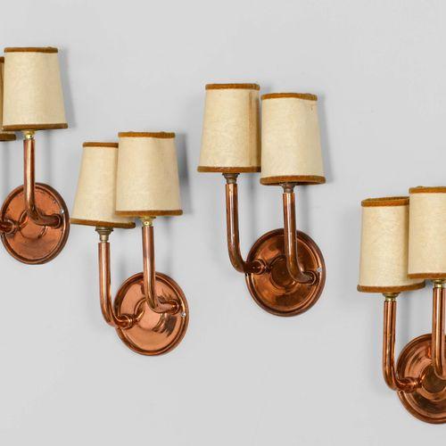 Quattro lampade da parete con struttura in rame e paralumi in tessuto., 意大利,约194…